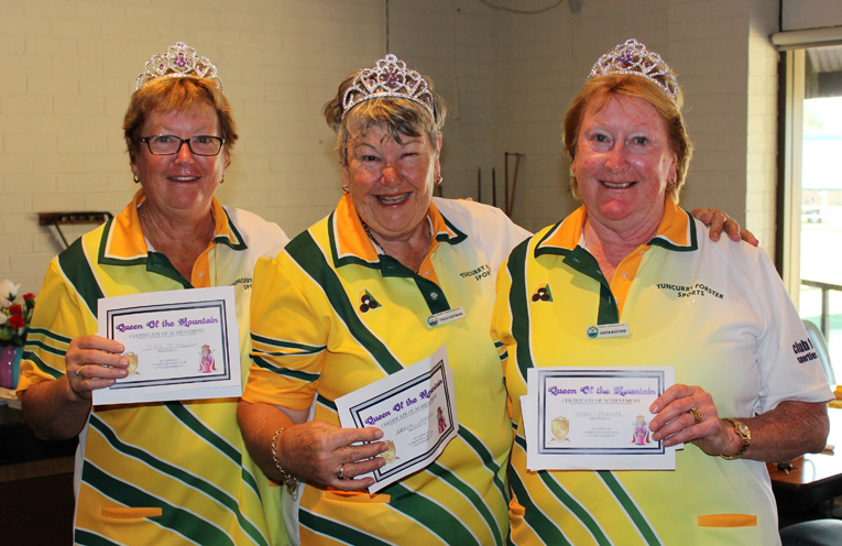 Crowning Moment: Robyn McDonnell, Patricia Hartmann and Karen Mudford win the Queen of the Mountain title. Photo: Mary-Ann Cashman