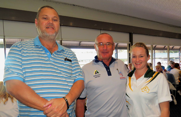 Scorekeeper Rodney Lansdowne, Umpire Ken Southern and youngest competitor Ashlee Smith.
