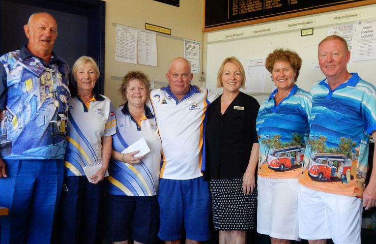 Third place winners Danny Johnson and Olive McKeown, Palm Lake Mixed Pairs Champions, Vicki Rankin and Sean Mearrick, Kim Bright, Palm Lake Resort, and second place winners Robyn and Scott Beaumont.