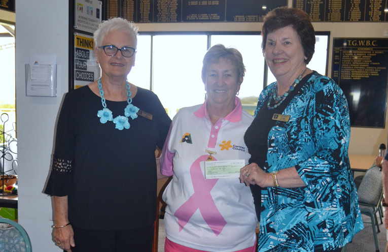 Presentation of Cheque: Kay Fordham, Robyn Webster and Elaine Wellard.