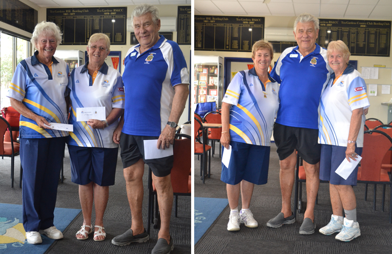 RSL Pairs Trophy Day runners up Bette Saillard and Lynne Green with RSL sub-branch President Michael Farrar.(left) Winners RSL Pairs Trophy Day Robyn Webster and Bev Rhodes with RSL sub-branch President Michael Farrar. (right)