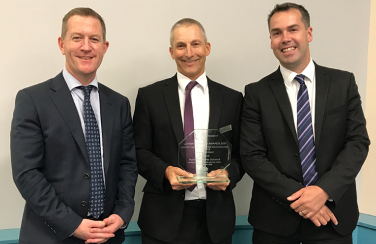 Pictured (left to right): Development Services Group Manager Mike McIntosh, General Manager Wayne Wallis and Mayor Ryan Palmer.