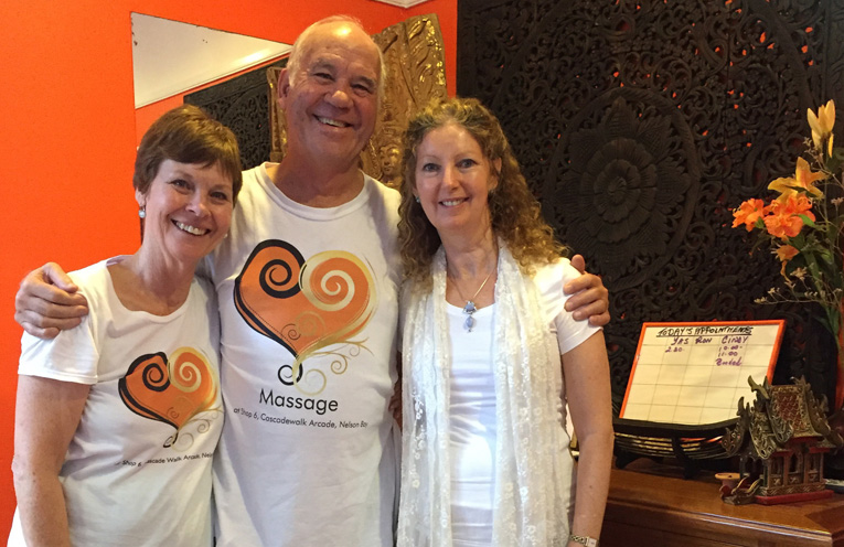 Ron and Cindy Gurr with Yasmaheena Madison-Christie are ready to welcome new clients at Massage @ Shop 6.