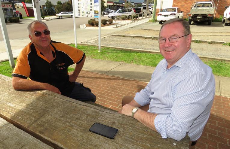 Arthur Baker and Myall Lakes MP Stephen Bromhead in Bulahdelah.