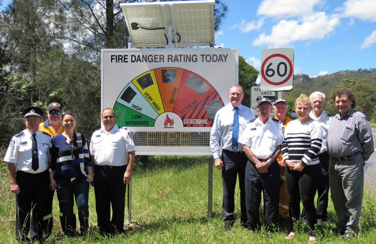 The new electronic Fire Danger Rating Sign near Lions Park.