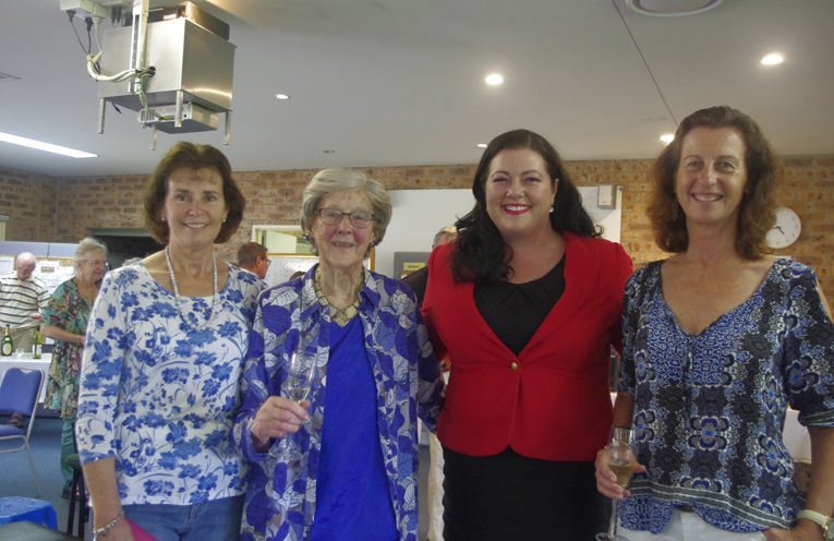 Kay's daughter Judy McPherson 100 year old Catherine (Kay) Davis, Port Stephens Councillor Jaimie Abbott and Kay's daughter Caroline Banney,