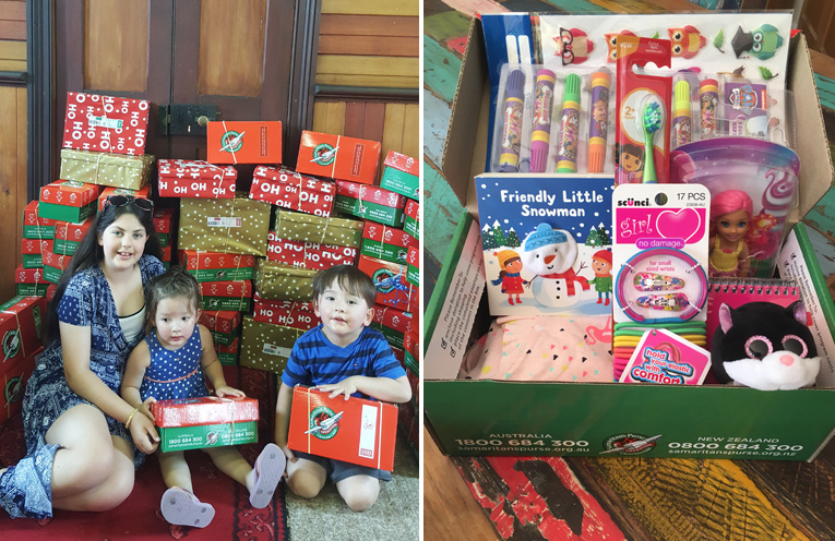 Hannah White, Lauren Tso and Alistair Tso with just some of the 130 boxes going overseas this week from Raymond Terrace. (left) An example of one of the boxes contents being sent by the Hunter-Barrington Presbyterian Church. (right)