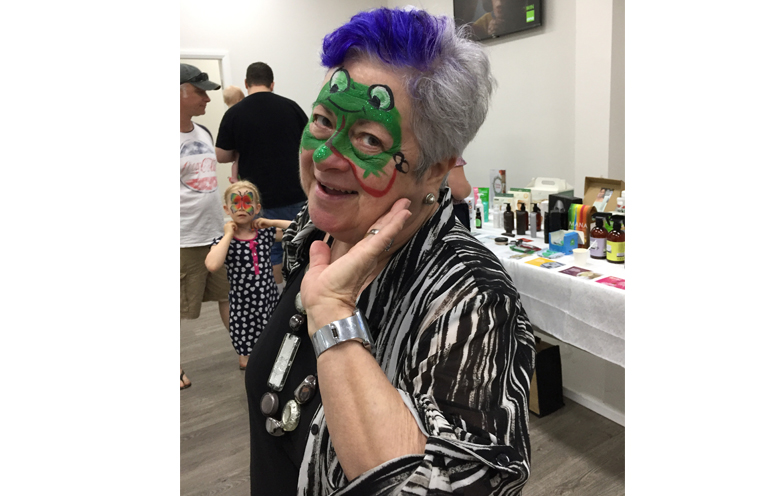 Jan Noake made sure the face painting was a family affair.