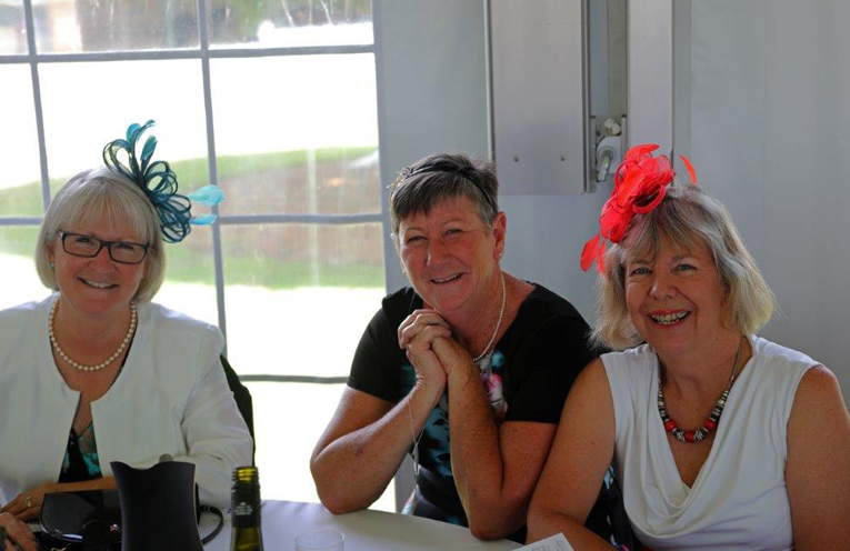 Former Tanilba Bay School staff Louise Hogg, Lee Henry and Beth Howell