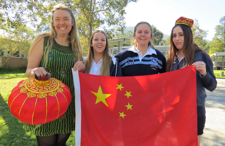 BCS Language Teacher Ms Georgina Cunich with students Madisson Morante, Chelsea Reid and Alisha Griffis.