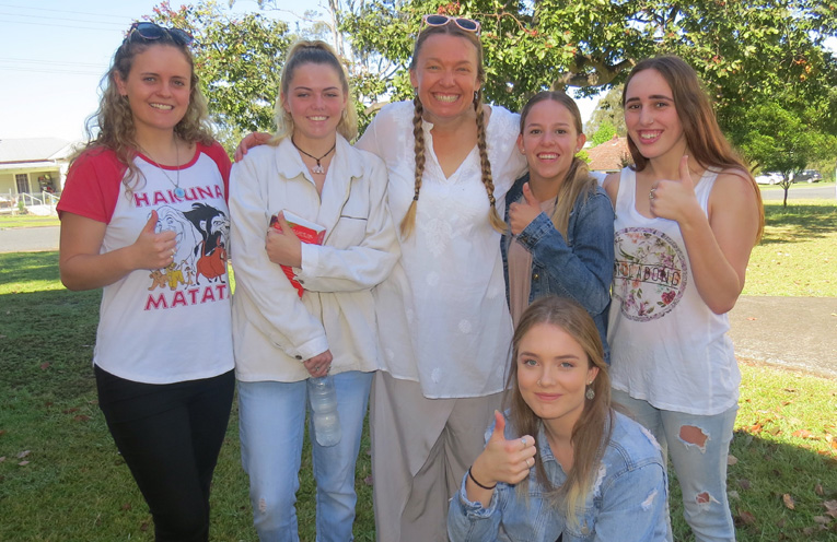 Chelsea Reid, Kiara Fardell, Ms Georgina Cunich, Madisson Morante, Alisha Griffis and Emma Miller were all smiles after the HSC Chinese written exam.