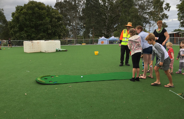 The brand new Petanque court at Boomerang park was a hit with all ages.