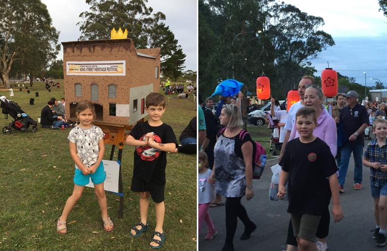 Community groups across Port Stephens created stunningly intricated lanterns, like this one of the Richardson and Scully building (formerly the Newcastle University Aquatic Centre) on King Street, being admired by Michael and Elizabeth Kilday (left) The lantern parade. (right)
