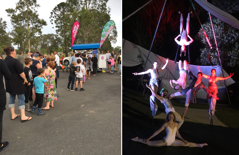 The fairy floss lady was popular! (left) Soulfire Circus were a hit with all who watched their captivating performance. (right)