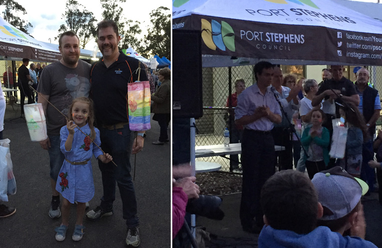 Chris Baguley from Greater Bank, one of the major contributors to the Illuminate festival, with his family. (left) Councillor Giacomo Arnott addressed the crowd. (right)