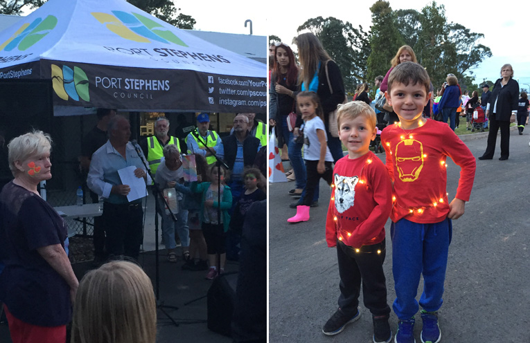 Councillor Paul LeMottee opened the Illuminate Boomerang Park Festival. (left) Owen and Eamon Brown embraced the illuminate theme. (right)