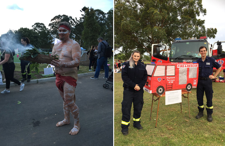 Steve Brereton performed the smoking ceremony and a moving Welcome to Country. (left) Firefighters Ebony Ingram and Giacomo Arnott with their fire truck lantern for the Illuminate Festival. (right)