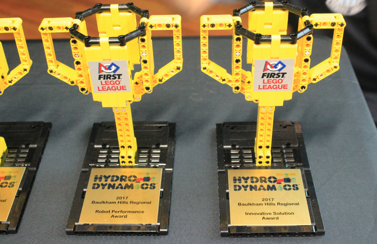 The unique trophies made from Lego, presented to the Raymond Terrace Public School teams.