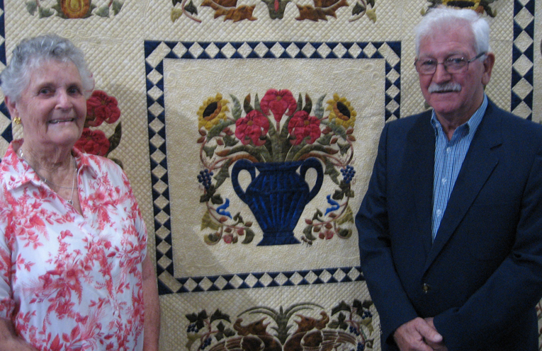 Jann Sturdy and Lloyd Hogg with one of Jann's prize winning quilts.