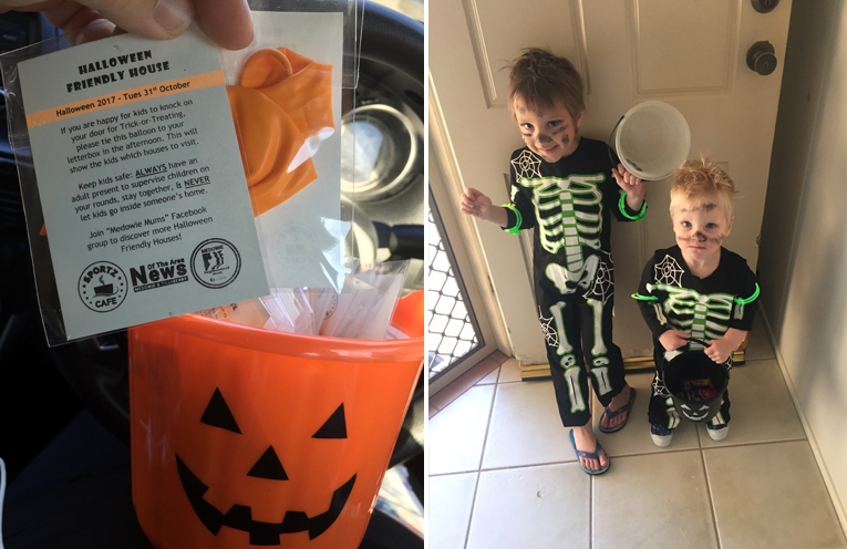 The Medowie halloween friendly houses balloons, sponsored by News Of The Area. (left) Xander and Flynn Zoetemeyer. (right)