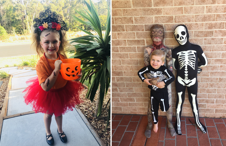 Sophia Reddon got into the Halloween spirit. (left) Xavier, Cruze and Jack loved handing out lollies to children who came to visit. (right)