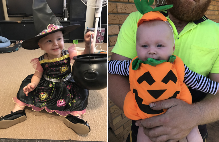 The cutest little Good Witch in Medowie. (left) 5 month old Cleo was a hit with the trick or treaters, and loved handing lollies out. (right)
