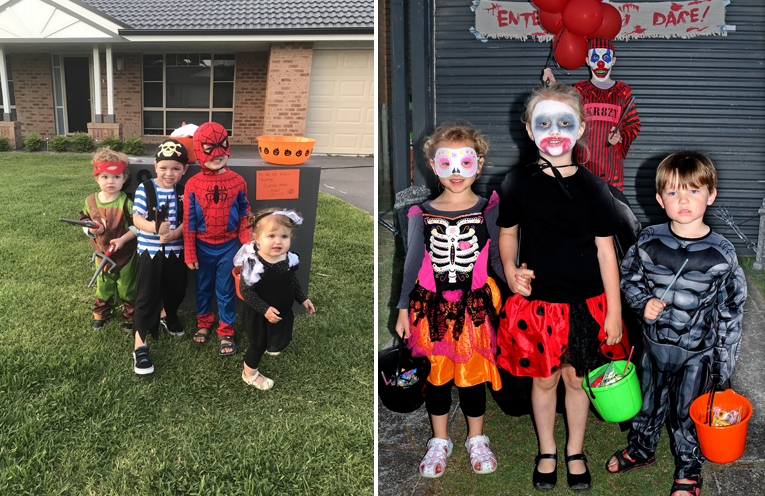 Zac, Dom Meldrum and Eli and Bonnie Morley enjoyed their Halloween experience. (left) Archie, Eleanor and Amelia meet a friendly Clown. (right)