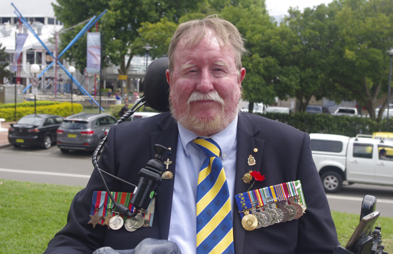 John Tate at the Remembrance Day service at Nelson Bay. Photo by Marian Sampson.