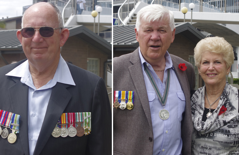 Steve Ward of Nelson Bay continuing a tradition of over forty years of family attendance at the Remembrance Day service at Nelson Bay. Photo by Marian Sampson. (left) Jim and Lois Morrison who represented Meryl Swanson Federal Member for Paterson and Member for Port Stephens Kate Washington, respectively in the laying of wreaths. Photo by Marian Sampson. (right)