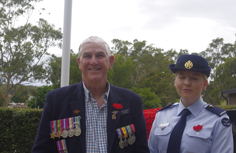 Darby Munro and Morgan Hoellfritsch at the Nelson Bay Remembrance Day service. Photo by Marian Sampson.