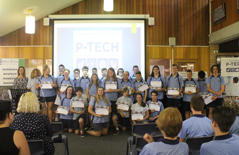 The Hunter River High Students participating in the P-Tech program.