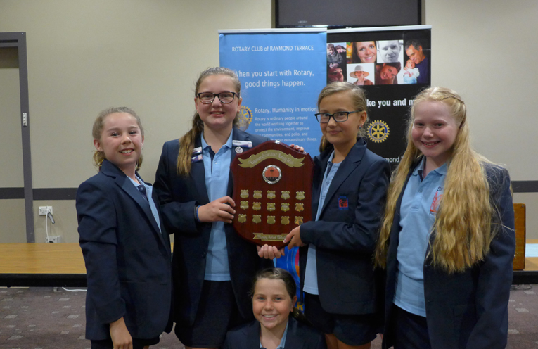The winners on the day, Seaham Public School: Clare Moir (Team Adviser), Tahlia Jarvie, Veronica Nunan, Bridie Gillon and Charli Codrington (Chair).