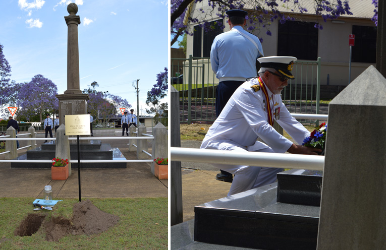 Centenary soil collection point with the catafalque party. (left) Captain Victor Jones, RANR, President of the Raymond Terrace RSL Sub-branch laying a wreath. (right)