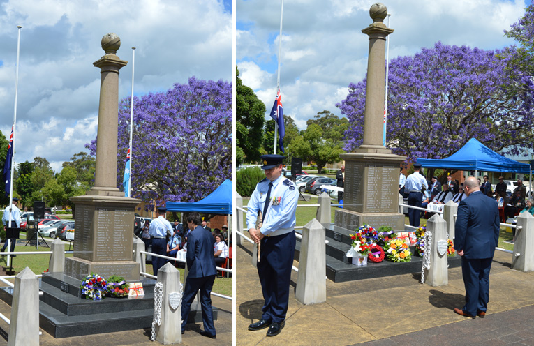 Councillor Giacomo Arnott laying a book to be donated to a local school in place of a wreath to commemorate the Day. (left) Pastor Shane Hanley from the Raymond Terrace Baptist Church laying a wreath. (right)