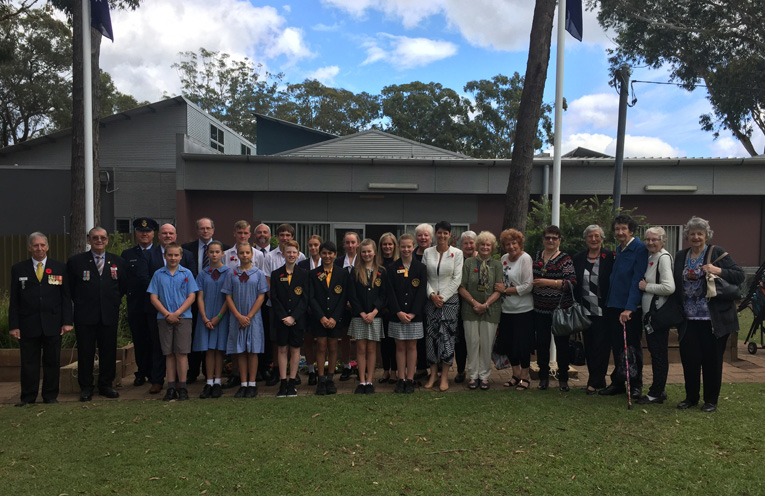 School, RSL and Council representatives at this year's Medowie RSL Remembrance Day service.