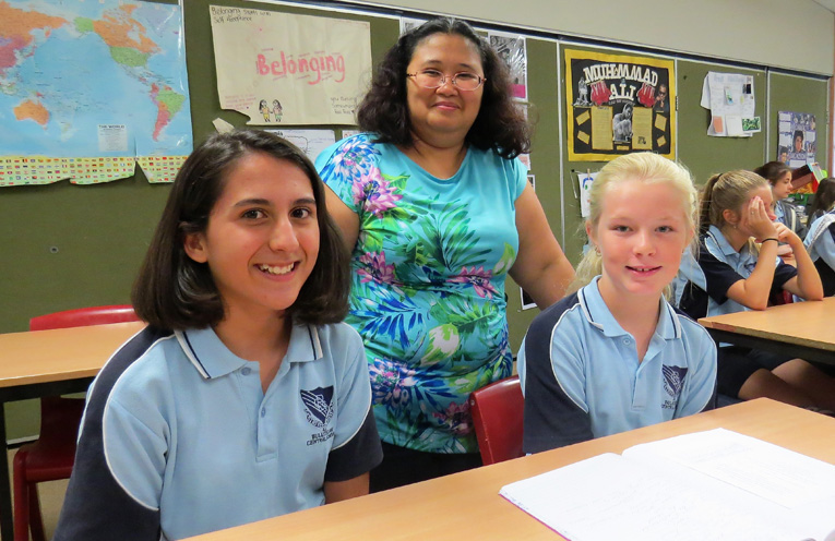 Sophia Stubbs, Ms Ros Caro and Georgia McKillop-Davies.