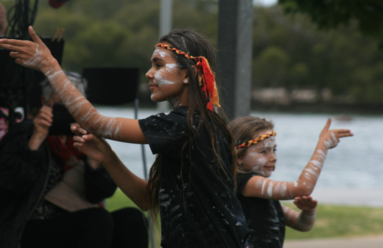 Murrook Dancers perform for the crowd in a moving cultura dance.