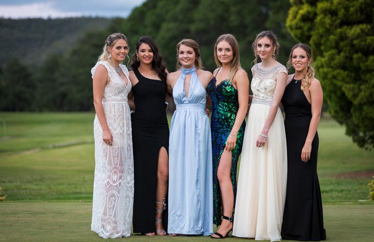 Stunning Frocks: Kiara Fardell, Marley Mezi, Rachel Rae, Emma Miller, Megan Markham and Madisson Callaghan-Morante. Photo: Matt Hudson