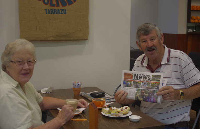 Pam and John Keegan of Tea Gardens were in Raymond Terrace and thought it was wonderful to see the News Of The Area in Raymond Terrace too! Photo by Marian Sampson.