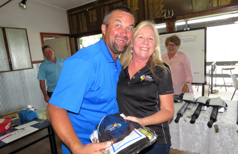 Darren Thomson from Bulahdelah with sponsor Karen Bartlett.