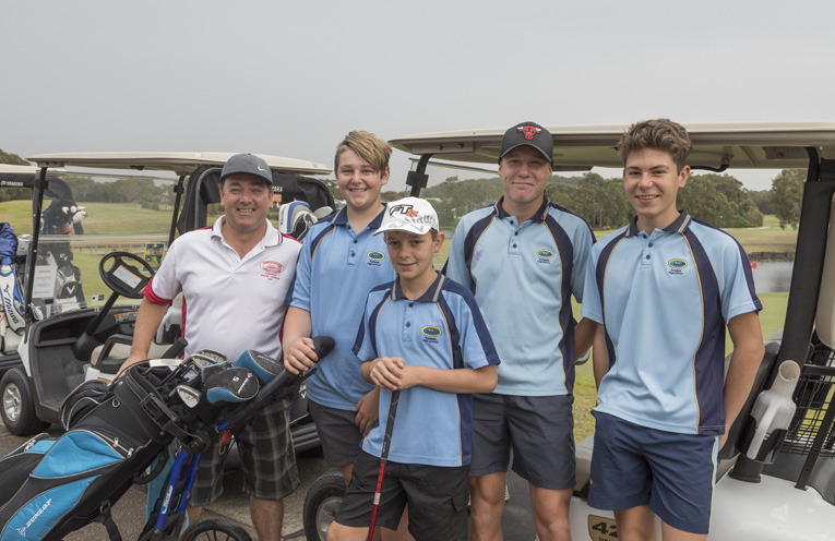 Kyle McELwain, Lleyton Phillips, Xavier Smith, Challan Banks, Ben Bradbury were players on the day with Xavier Smith winning the nearest the pin prize of a $500 holiday. Photo by Henk Tobbe.