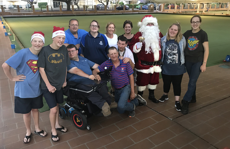 Members of the Raymond Terrace Disability Bowls group at their Christmas and Presentation party.