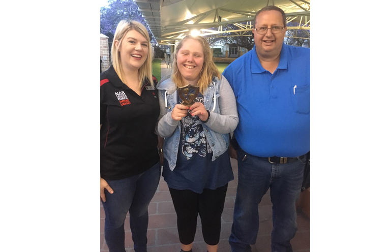 2017 Trophy Winner, Maddie Petith, being presented her award by found Adam Nicholas and NAB Branch Manager Sigrid Jones.