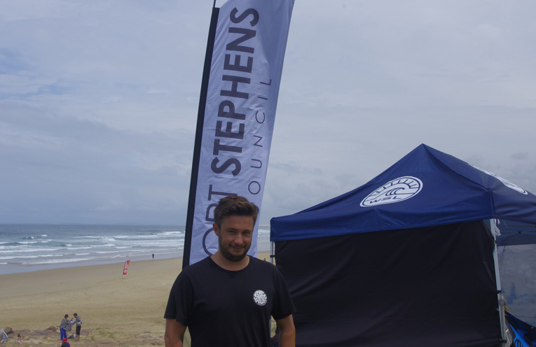 Tom Bennett of the World Surfing League at Buribi Beach for the Port Stephens Toyota NSW Pro Surfing Event. Photo by Marian Sampson.