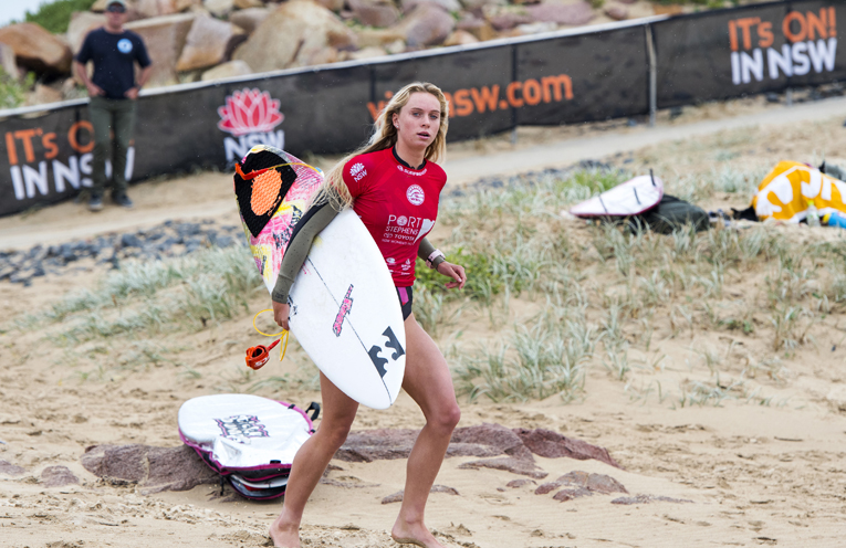 Macy Callaghan ready to compete at the Port Stephens Toyota NSW Pro Surfing Event at Buribi Beach Port Stephens.
