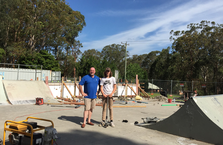 Councillor and Deputy Mayor Chris Doohan, and Reece Reilly, checking out the work being done.
