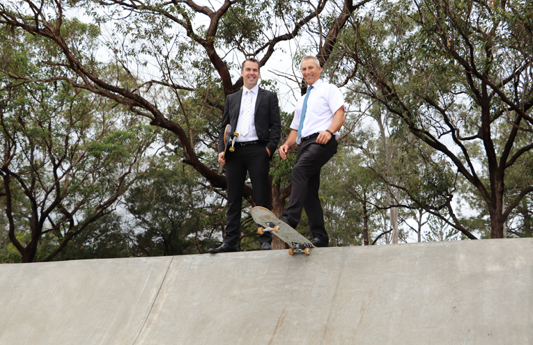 Mayor Ryan Palmer and Port Stephens Council General Manager Wayne Wallis trying out the new facilities.