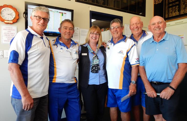Peter Gurney, David Perry, Grange Manager, Julie Woolard, Alan Greenhalgh, Club President, Max Stephens and Colin Amos.