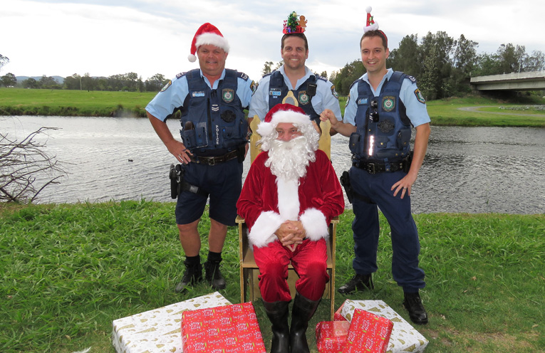 Tis The Season: Sn Constables Trevor McLeod, Ash Ray and Dave Feeney with Santa.