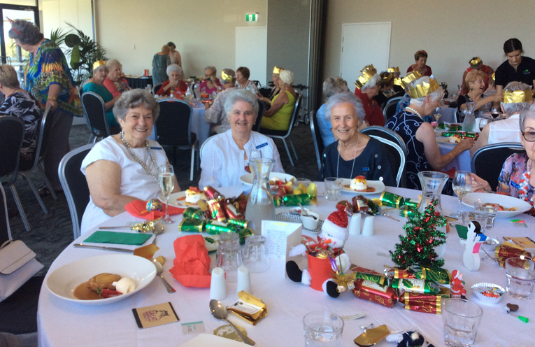 Three ex-presidents of Tomaree Ladies Probus Club together for Christmas Jean Smith, Elsie Newcombe and Judy Atkins.